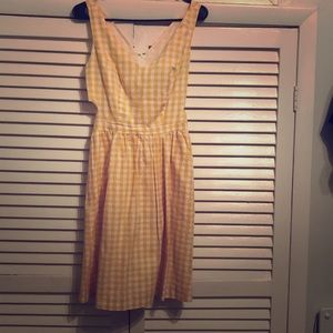 Yellow Gingham summer dress with side cutouts